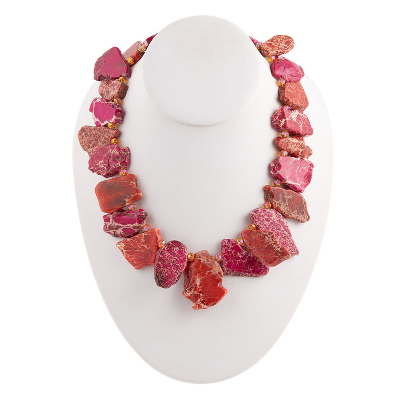 Fuchsia Jasper Slab Necklace
