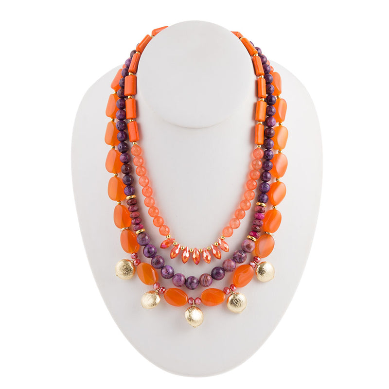 Triple Bright Layered Necklace