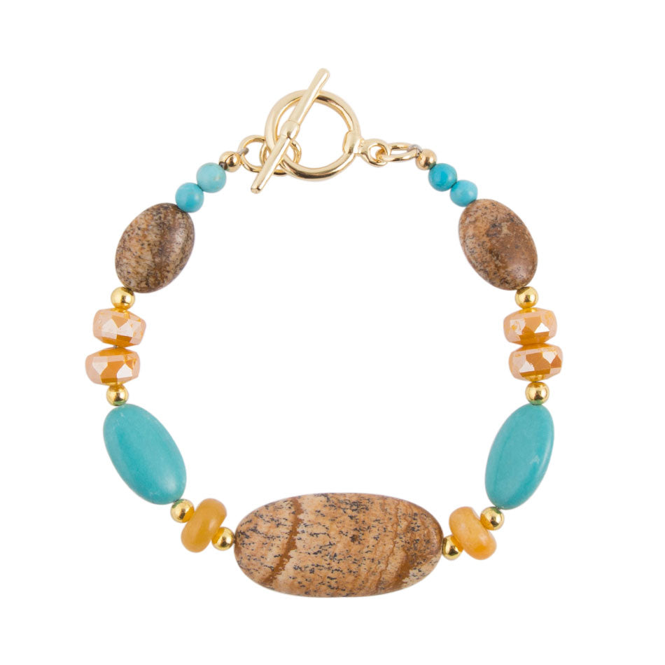 Brindled Turquoise Toggle Bracelet