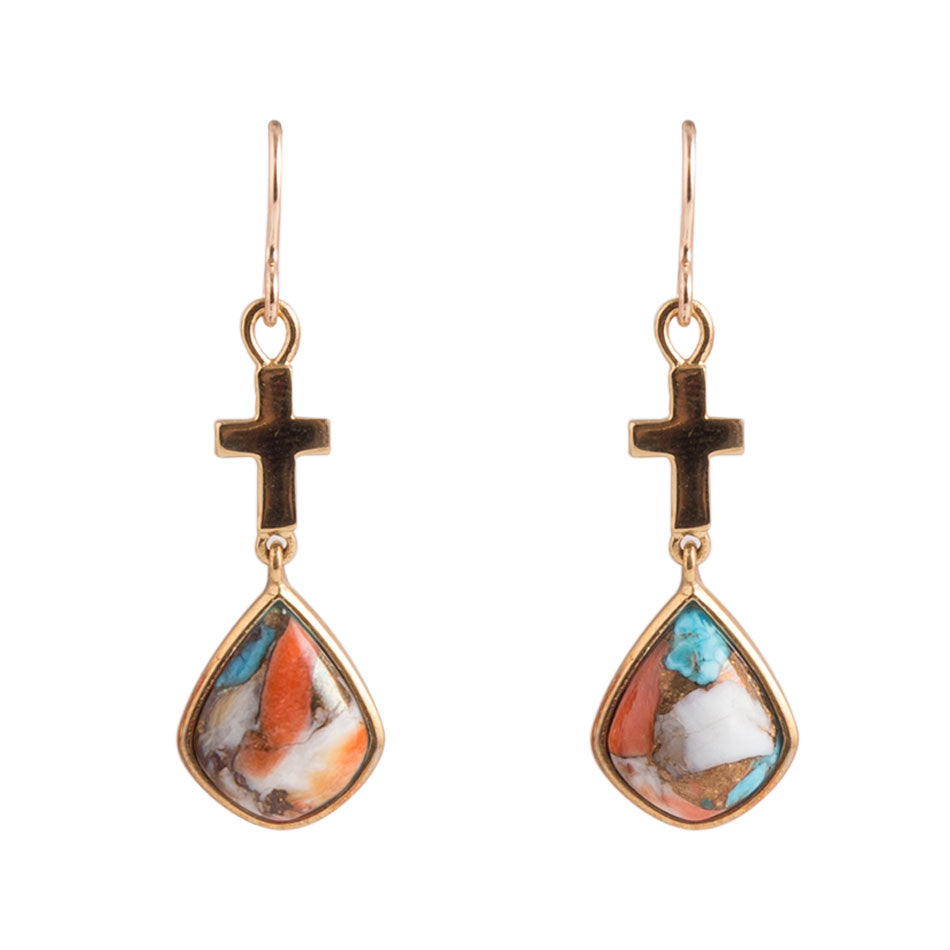 Painted Sunsets Cross Earring