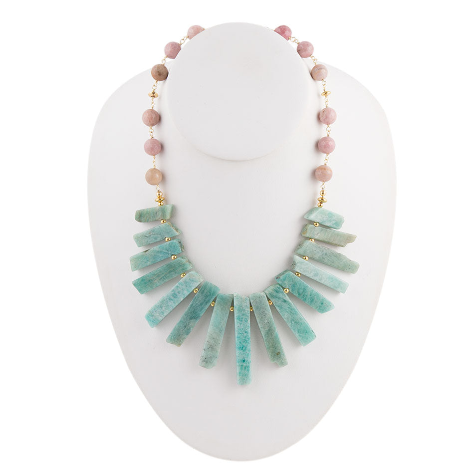 Fanned Amazonite Statement Necklace