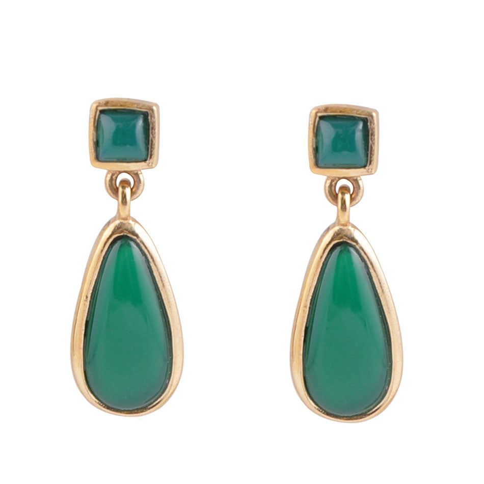 Smooth Teardrop Earring - Green Onyx