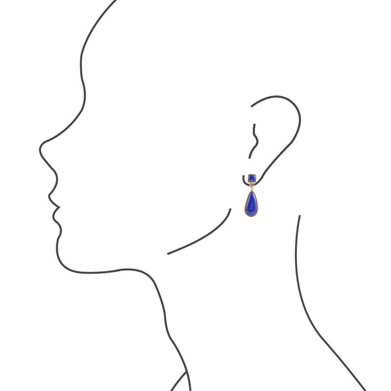 Smooth Teardrop Earring - Lapis