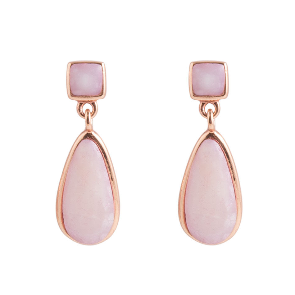 Smooth Teardrop Earring - Pink Opal