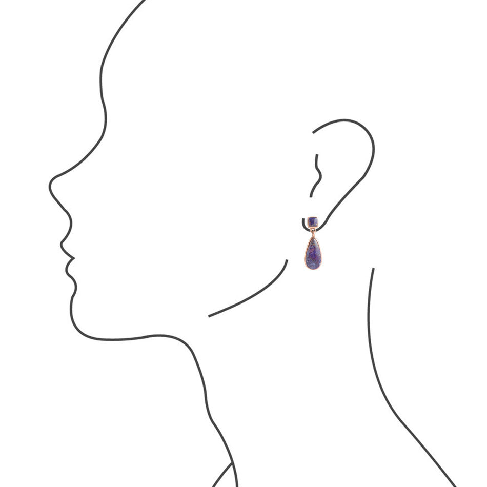 Smooth Teardrop Earring - Purple Turquoise