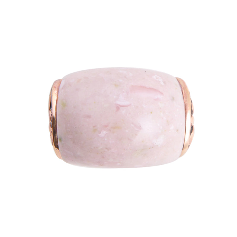 Flourished Copper Ring - Pink Opal