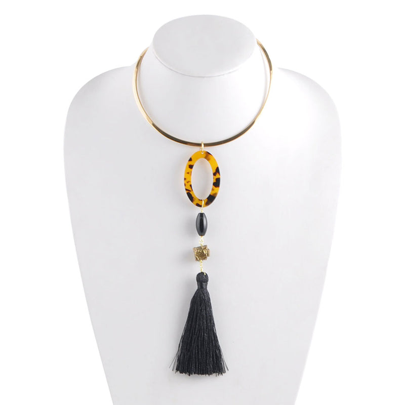 Tortoise and Tassel Two Piece Necklace