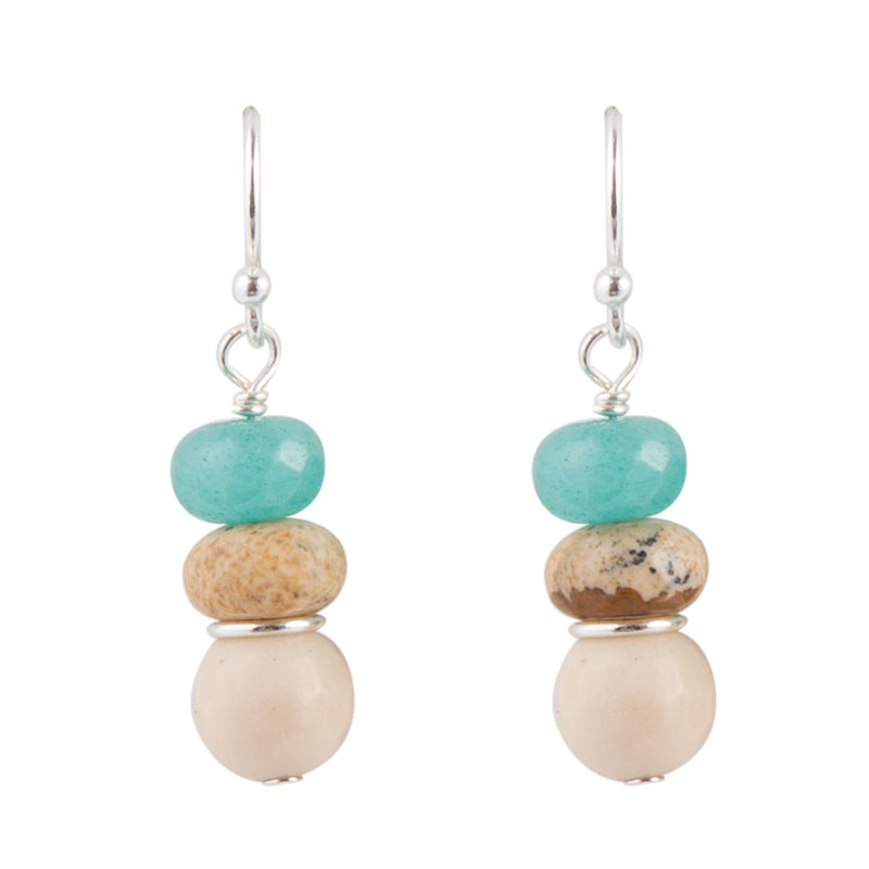 Teal Crystal Silver Earring