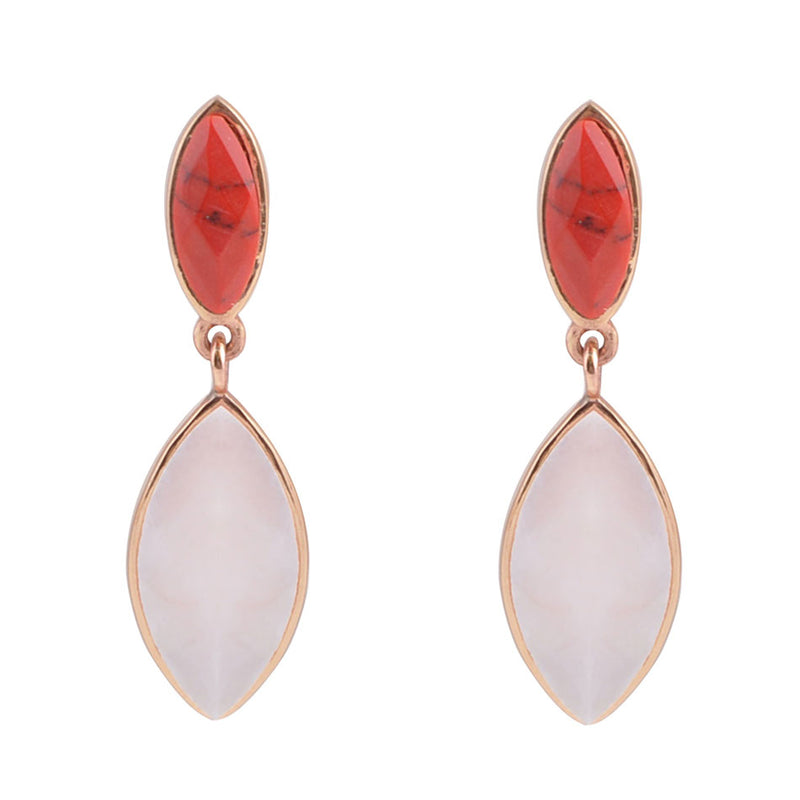 Two Tone Earring - Pink Opal