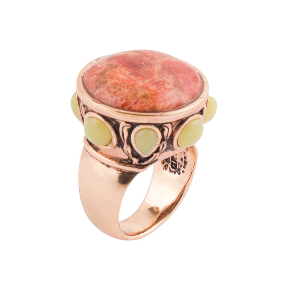 Orange Coral and Green Jasper Dome Ring