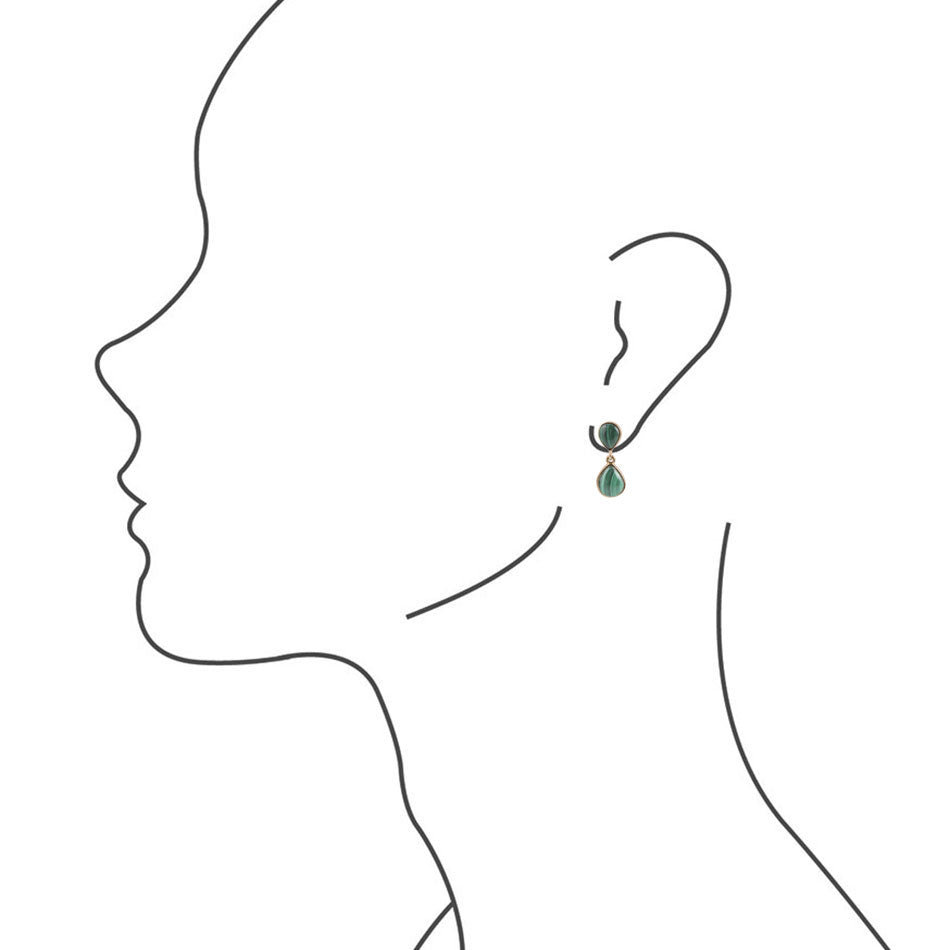 Malachite Opal Earring - Bronze