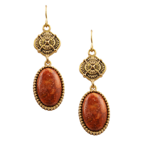 Red Sponge Coral Medallion Drop Earring