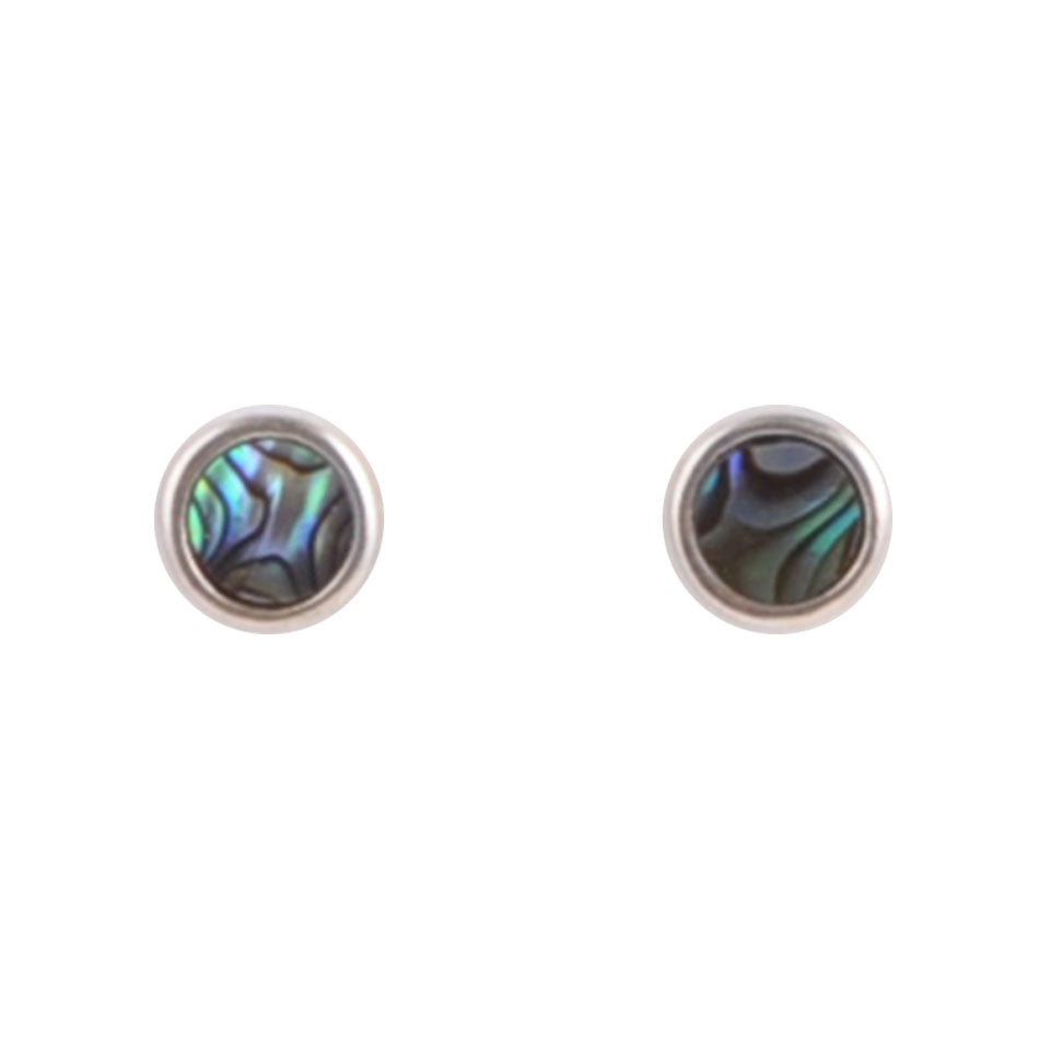Dainty Dot Sterling Earring- Abalone
