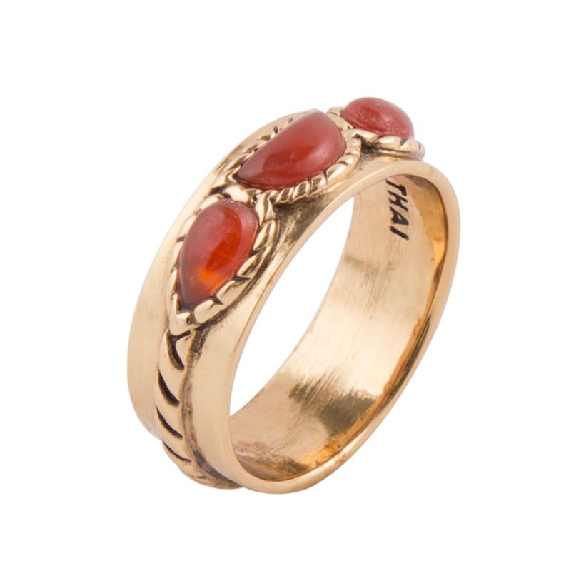 Triple Stone Simplicity Ring- Carnelian and Bronze