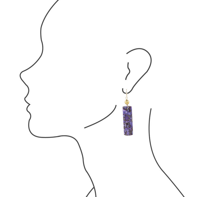 Purple Turquoise Slab Earrings
