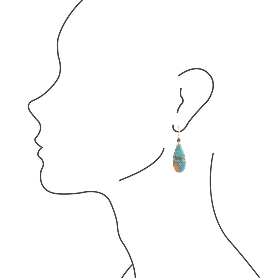 Turquoise Matrix Tear Slab Earring