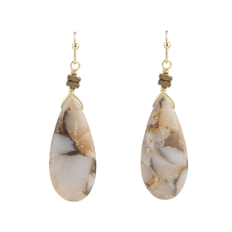 White Calcite Oval Slab Earring