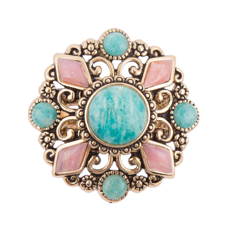 Pastel Florals Amazonite Ring
