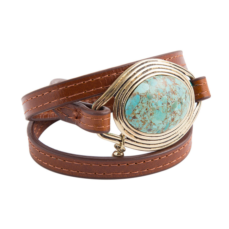 Triple Wrap Turquoise Leather Bracelet