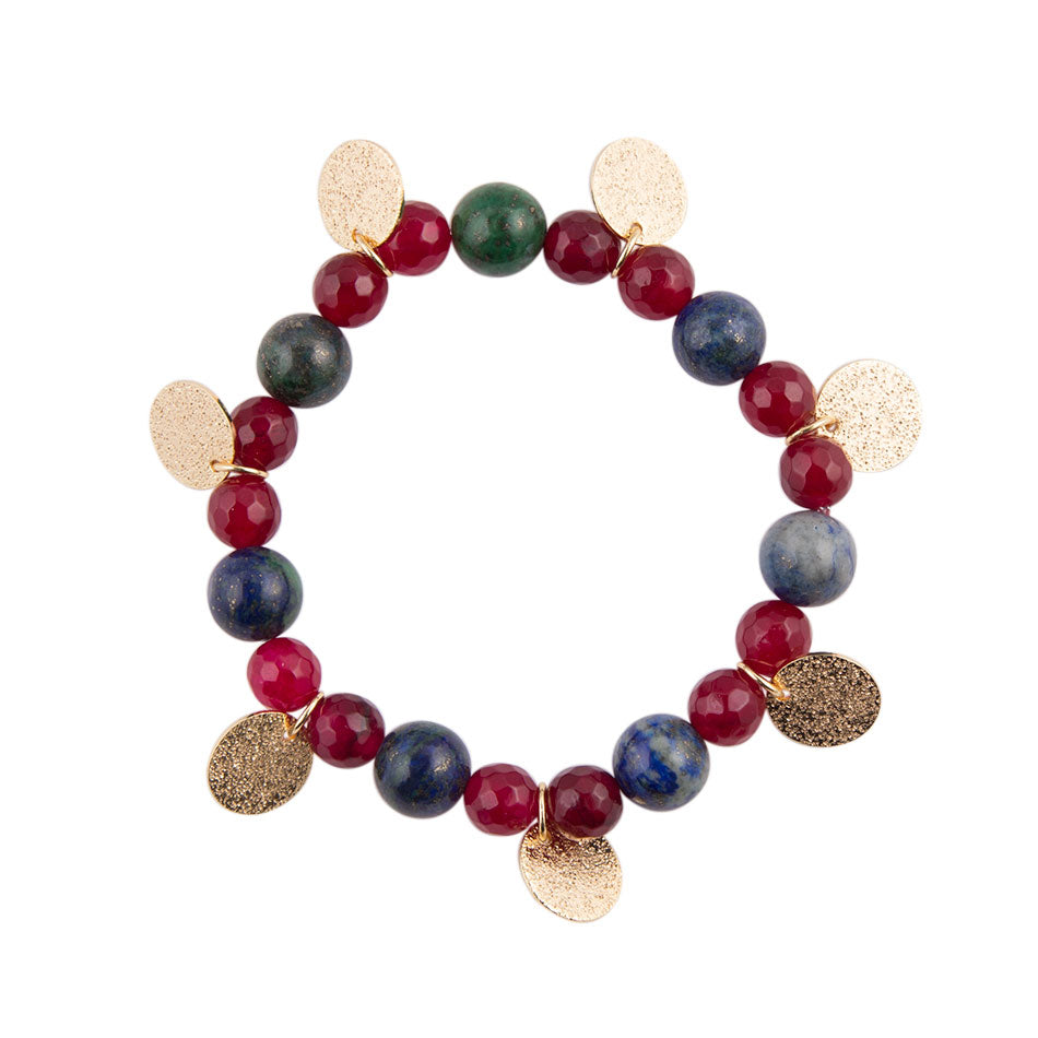 Azurite Raspberry Quartz with Gold Tones Bracelet