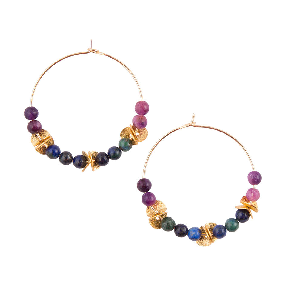 Purple Jasper Azurite Earring