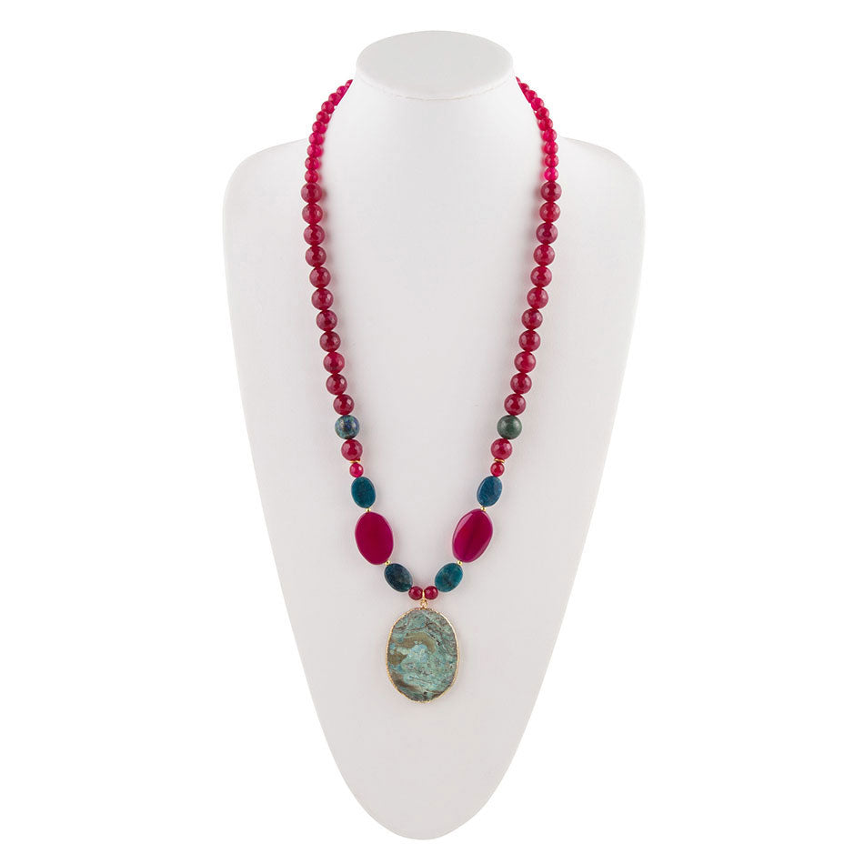 Raspberry Quartz Hanging Chrysocolla Necklace
