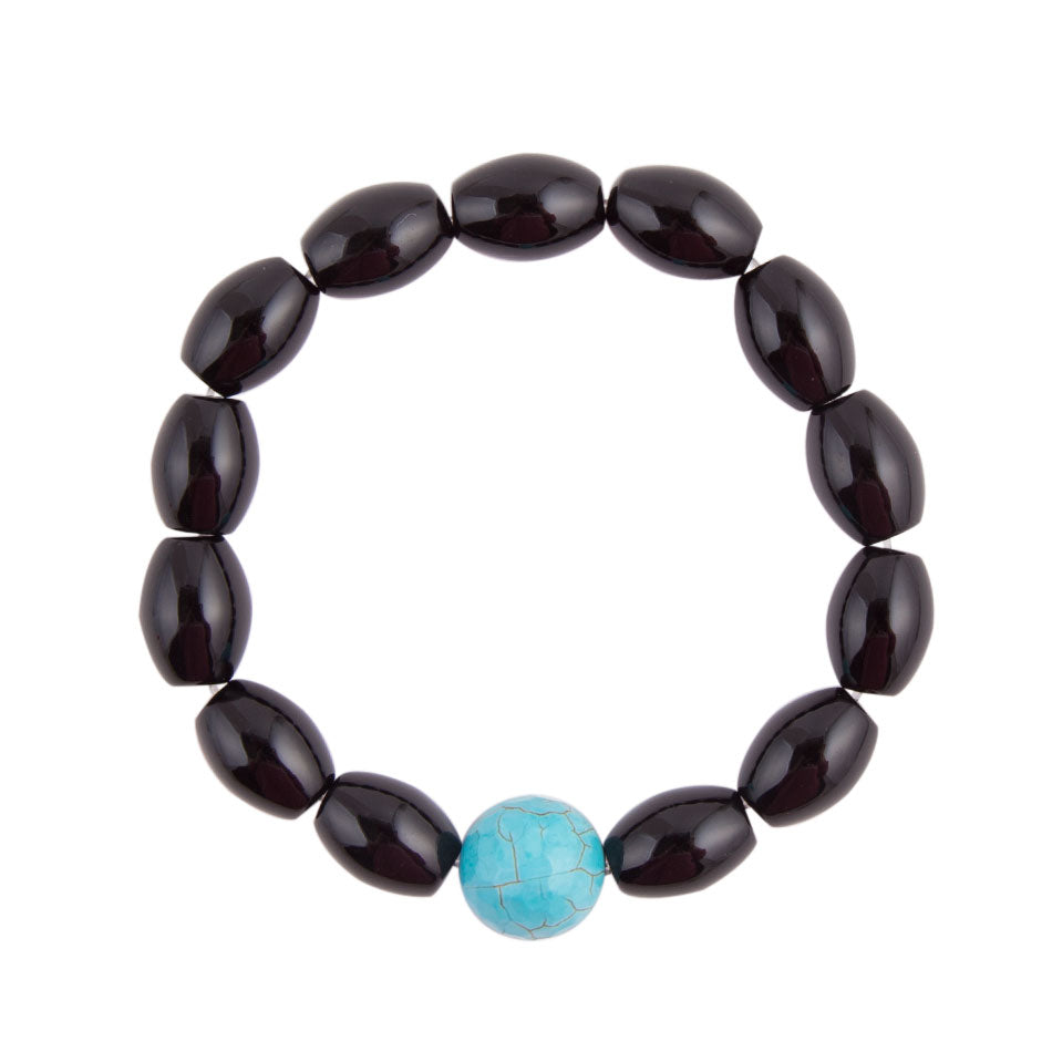 Black and Blue Turquoise and Onyx Bracelet