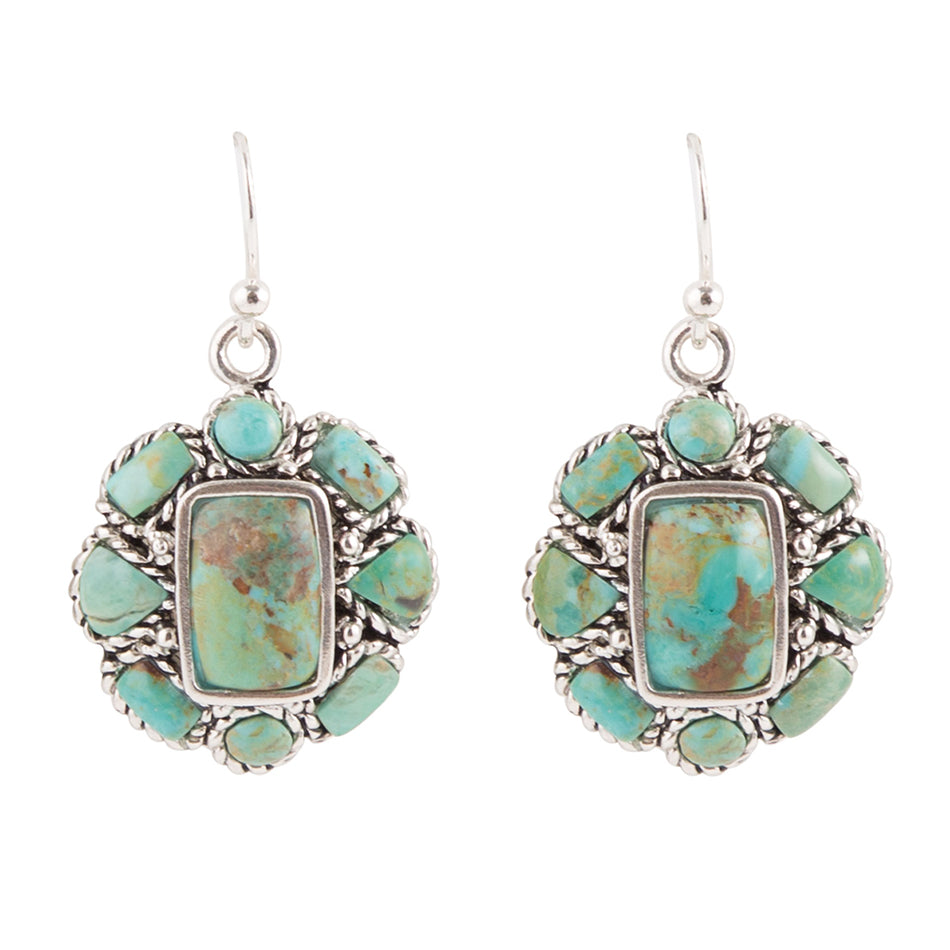 Turquoise Floral Earring