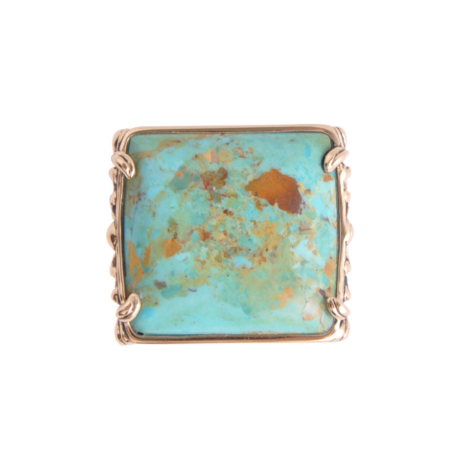 Square Turquoise Bronze Ring