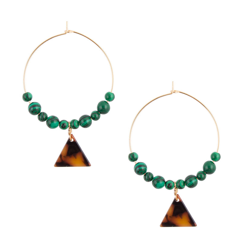 Green Tortoise Hoop Earrings