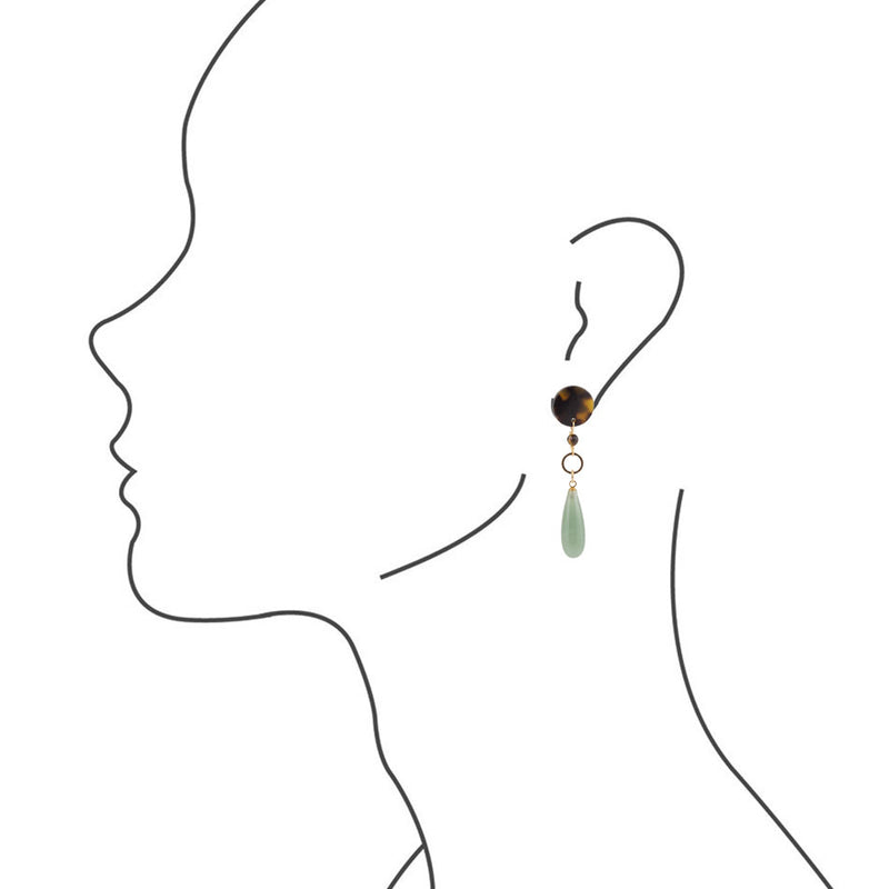 Green Drop Tortoise Post Earrings