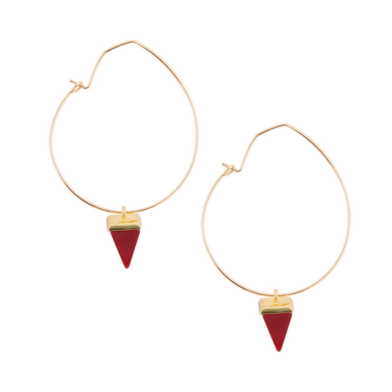 Red Onyx Charm Hoop Earring