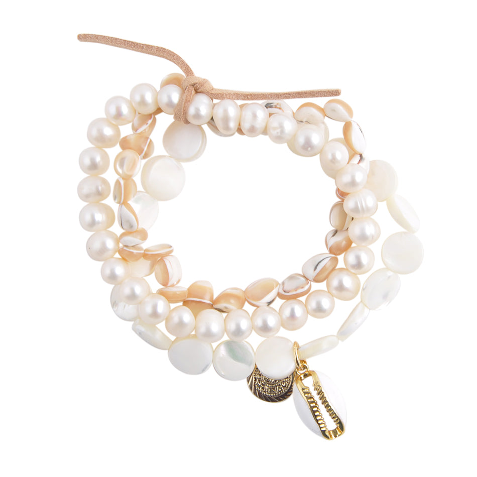 Multi-Strand Mother of Pearl Bracelet