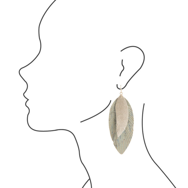 Gold and Sage Leaf Earring