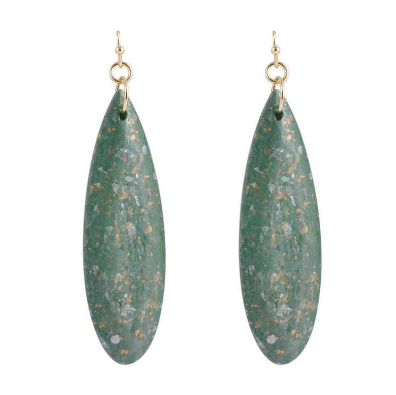 Green Wood Statement Earring
