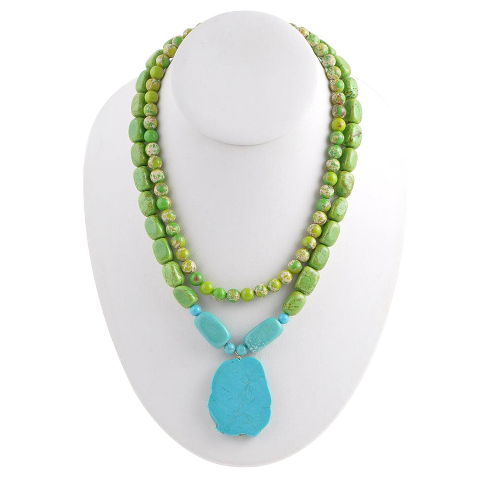 Lime Turquoise Twist Necklace