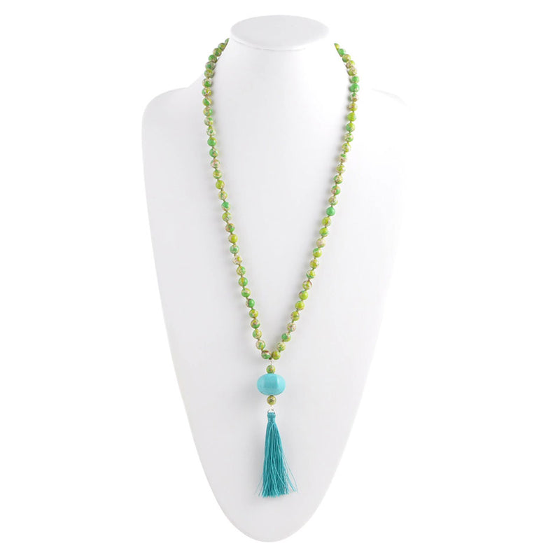 Lime and Turquoise Tassel Necklace