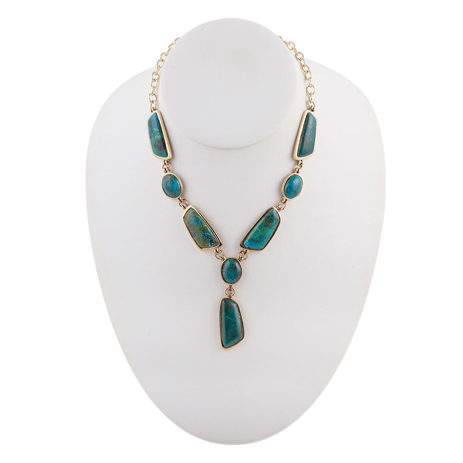 Genuine Chrysocolla Abstract Necklace