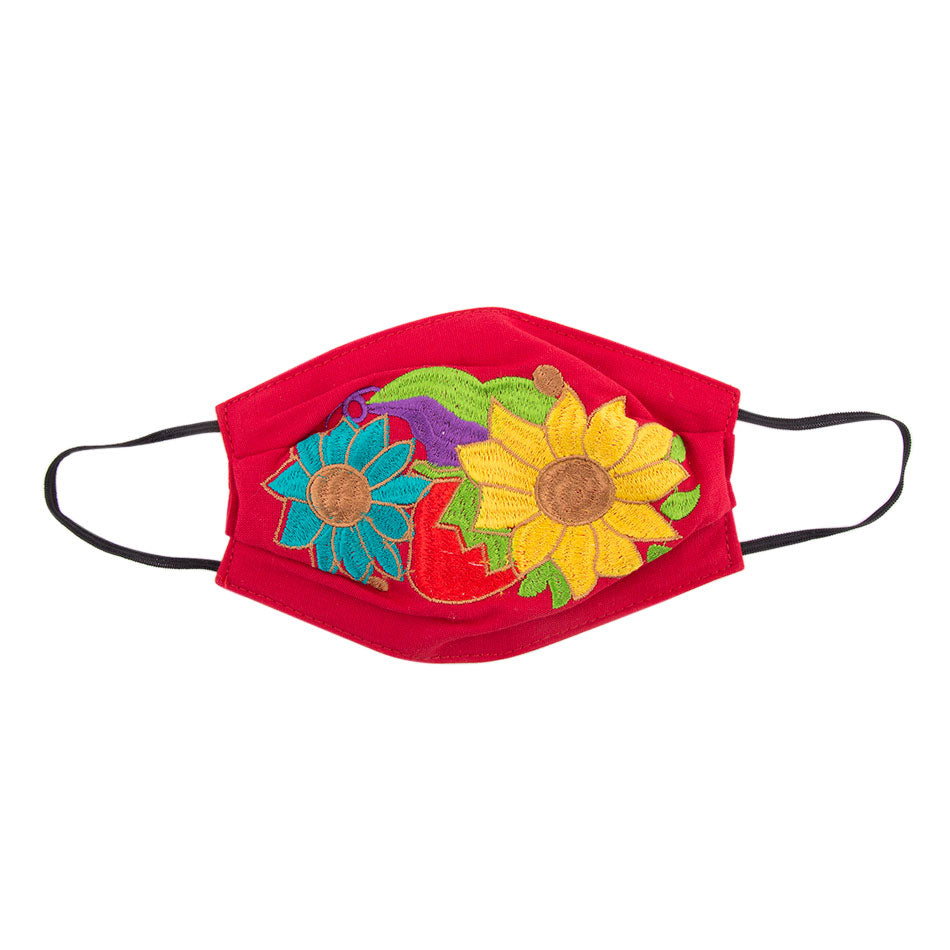 Embroidered Mask 2- Red Floral