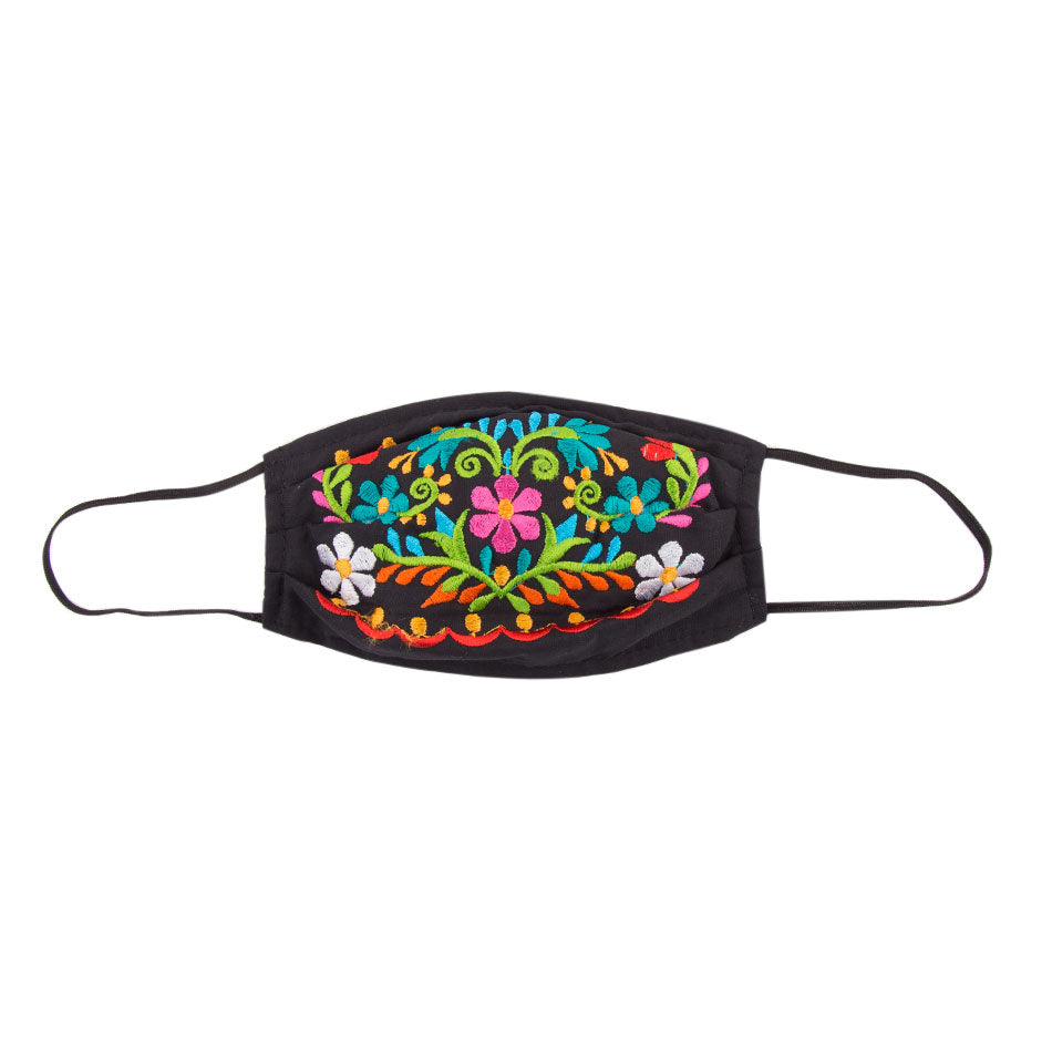 Embroidered Mask 2- Black Floral