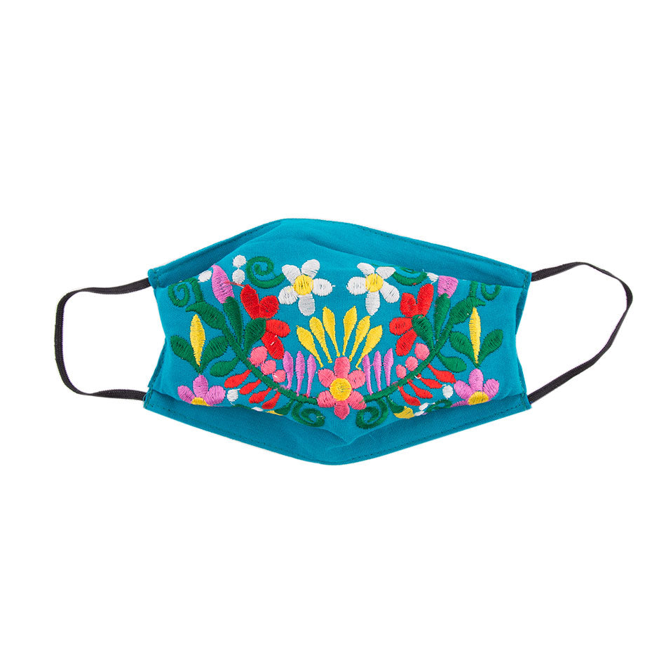 Embroidered Mask 2- Turquoise Floral