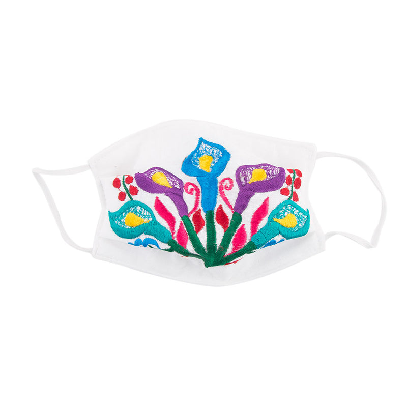 Embroidered Mask 2- White Floral