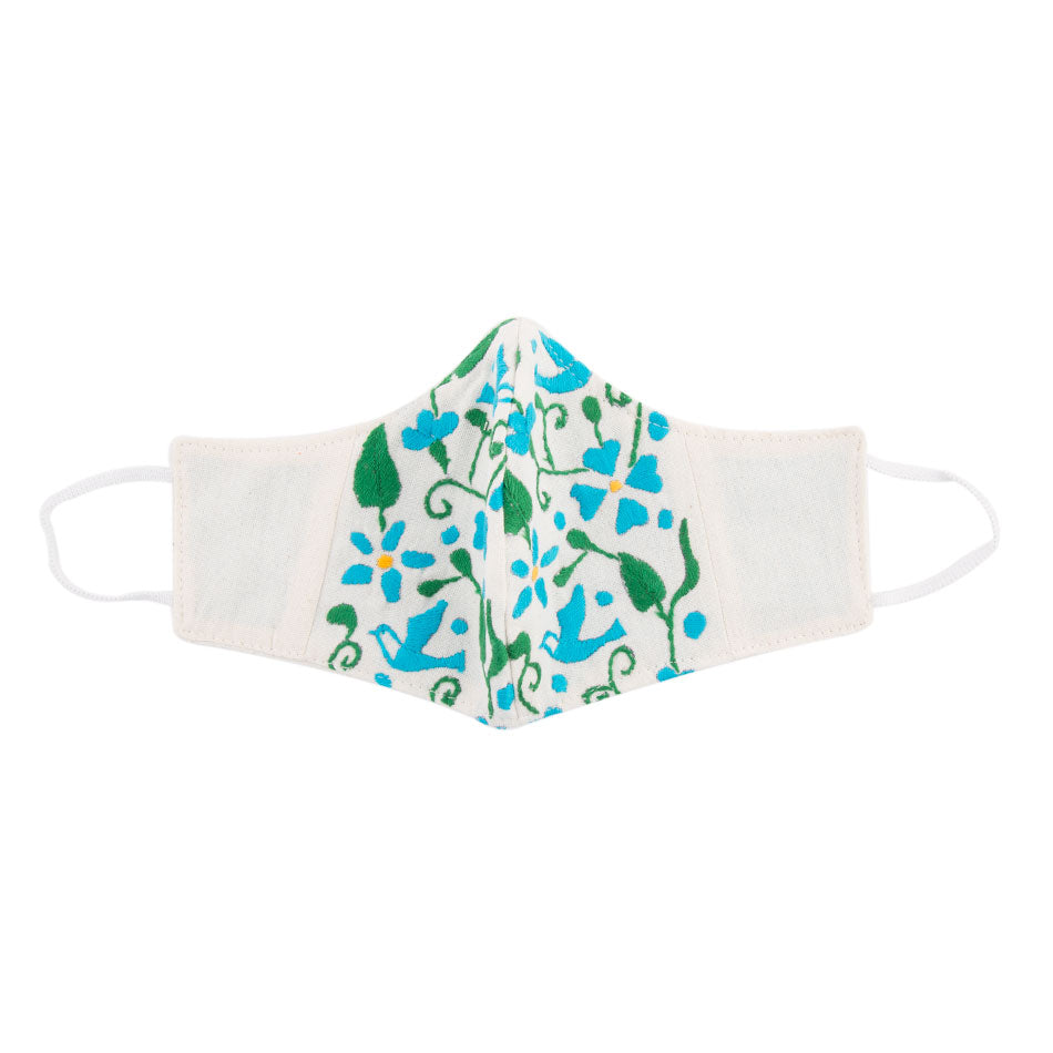 Embroidered Mask- White Floral