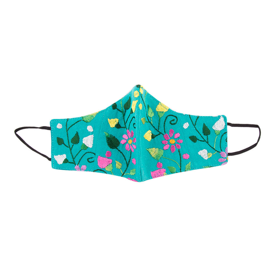 Embroidered Mask- Turquoise Floral