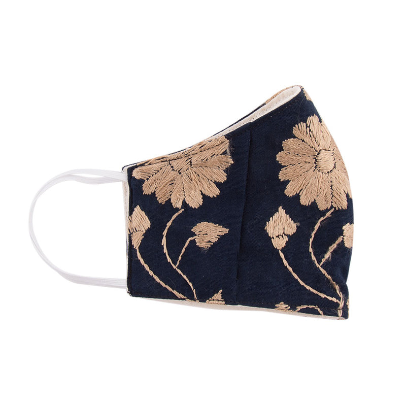 Embroidered Mask - Navy and Tan Floral