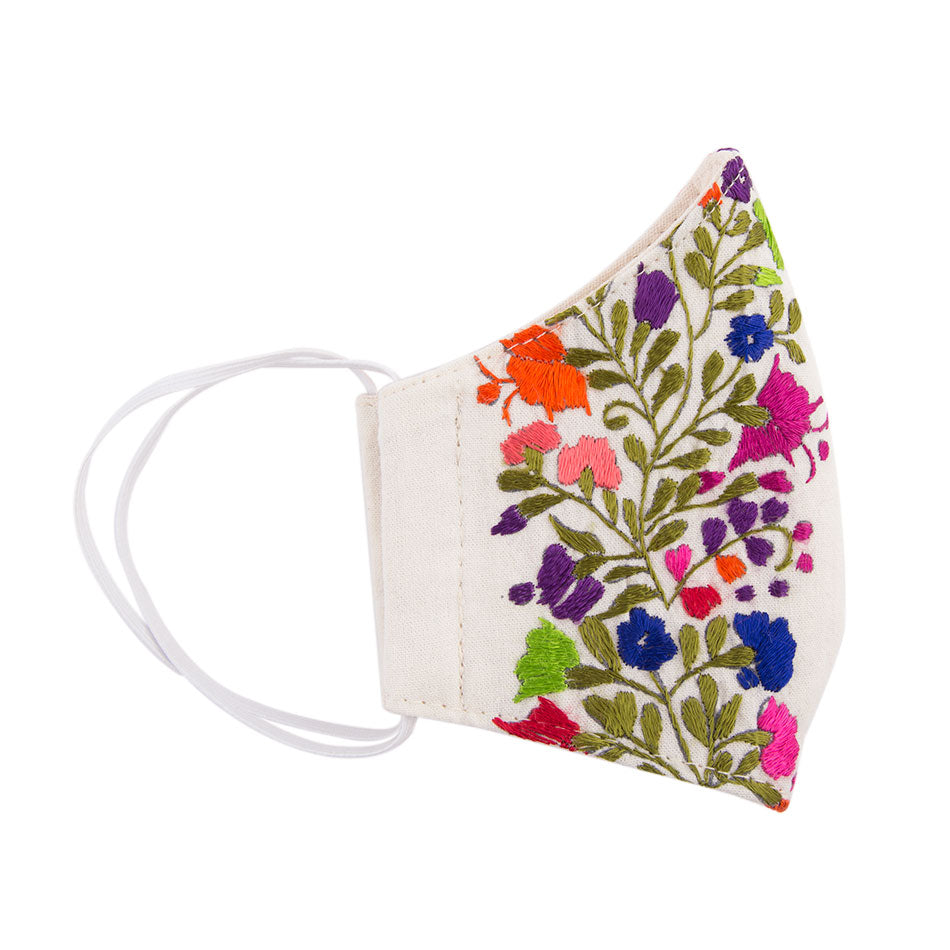 Embroidered Mask - Cream Floral