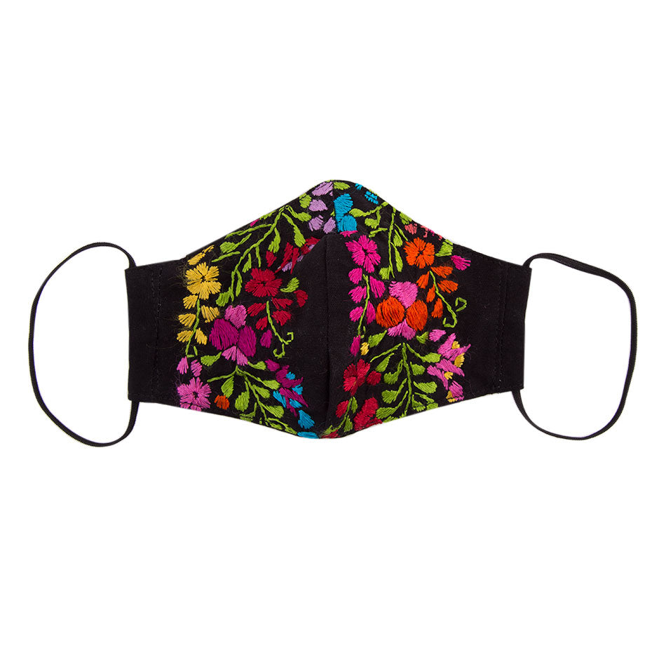 Embroidered Mask - Black Floral 2