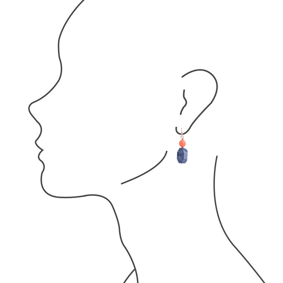 Lapis Nugget Earring