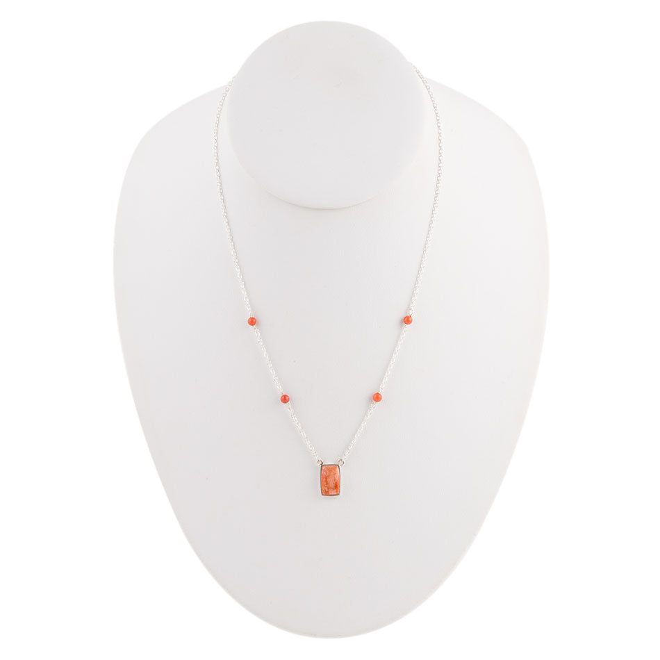 Orange Sponge Coral Dainty Necklace