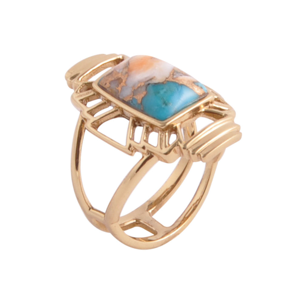 Native Sky Turquoise and Spiny Oyster Ring